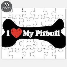 I Love My Pitbull - Dog Bone Puzzle