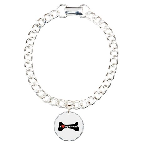 I Love My Pitbull - Dog Bone Charm Bracelet, One C