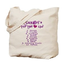 Cowgirls Top 10 Love List Tote Bag
