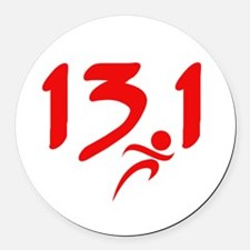 Red 13.1 half-marathon Round Car Magnet