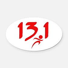 Red 13.1 half-marathon Oval Car Magnet
