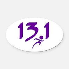 Purple 13.1 half-marathon Oval Car Magnet