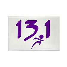 Purple 13.1 half-marathon Rectangle Magnet