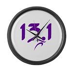 Purple 13.1 half-marathon Large Wall Clock