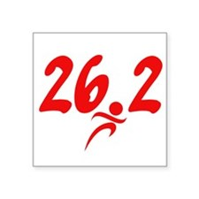 "Red 26.2 marathon Square Sticker 3"" x 3"""