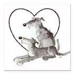 Scottish Deerhounds in Heart Square Car Magnet 3