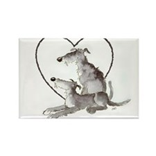 Scottish Deerhounds in Heart Rectangle Magnet