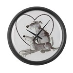 Scottish Deerhounds in Heart Large Wall Clock