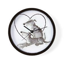 Scottish Deerhounds in Heart Wall Clock