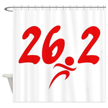 Red 26.2 marathon Shower Curtain