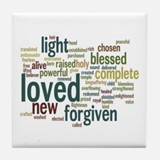 Who I am in Christ Teal Tile Coaster