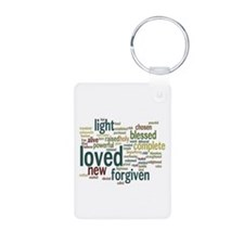 Who I am in Christ Teal Keychains