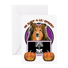 Halloween Just a Lil Spooky Sheltie Greeting Card