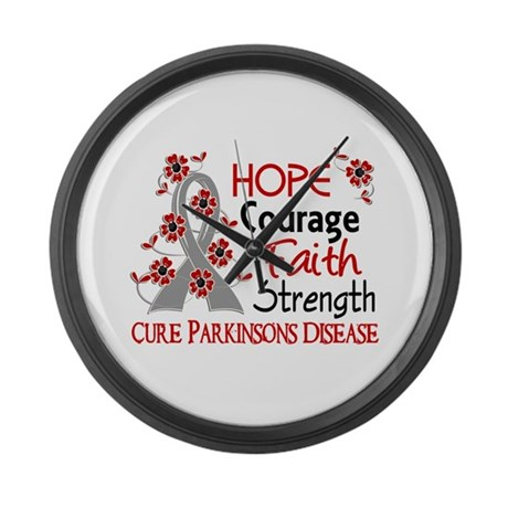 Hope Courage 3 Parkinson's Large Wall Clock