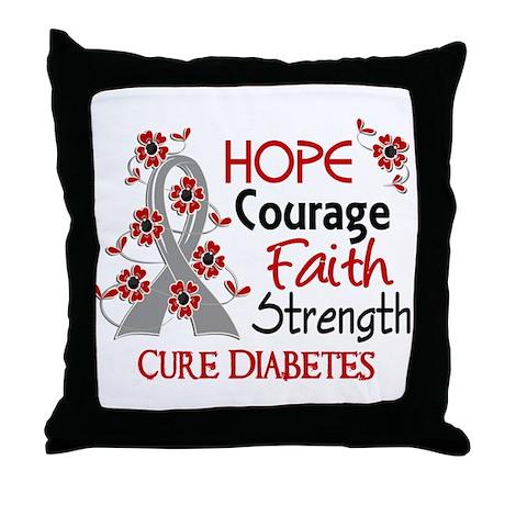 Hope Courage 3 Diabetes Throw Pillow