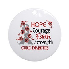 Hope Courage 3 Diabetes Ornament (Round)