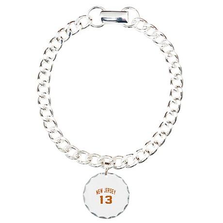 New Jersey 13 Birthday D Charm Bracelet, One Charm