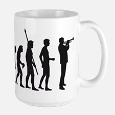 evolution trumpet player Large Mug
