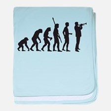 evolution trumpet player baby blanket