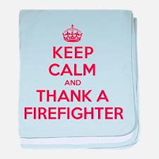 K C Thank Firefighter baby blanket