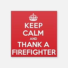 "K C Thank Firefighter Square Sticker 3"" x 3"""