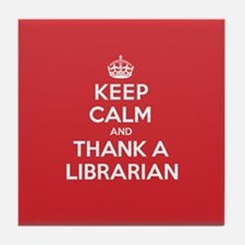K C Thank Librarian Tile Coaster