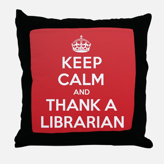 K C Thank Librarian Throw Pillow