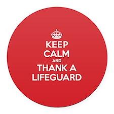 K C Thank Lifeguard Round Car Magnet