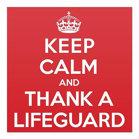 "K C Thank Lifeguard Square Car Magnet 3"" x 3"""