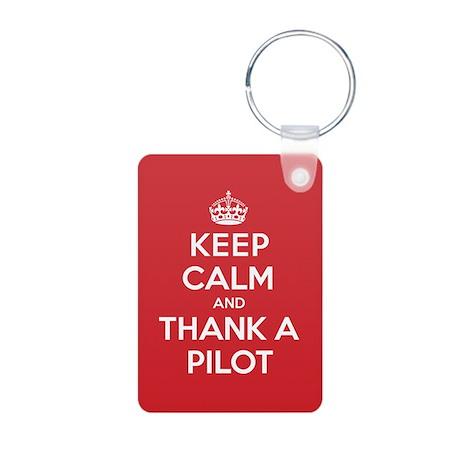 K C Thank Pilot Aluminum Photo Keychain