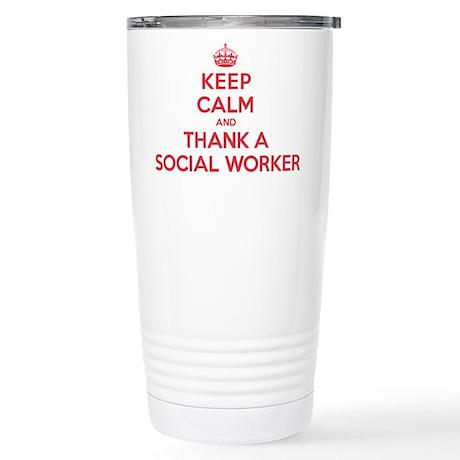 K C Thank Social Worker Stainless Steel Travel Mug