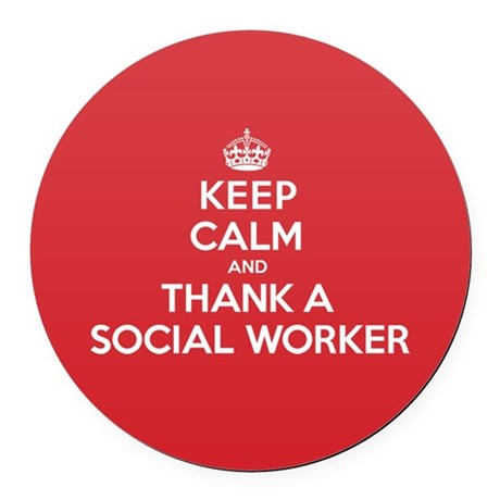 K C Thank Social Worker Round Car Magnet