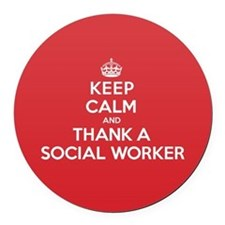 K C Thank Social Worker Round Car Magnet