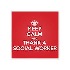 "K C Thank Social Worker Square Sticker 3"" x 3"""