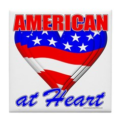 American At Heart Tile Coaster