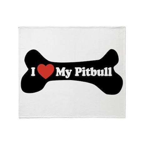 I Love My Pitbull - Dog Bone Throw Blanket
