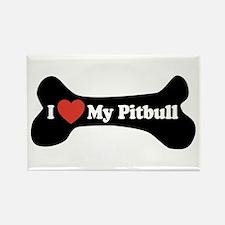 I Love My Pitbull - Dog Bone Rectangle Magnet (100