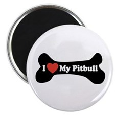 "I Love My Pitbull - Dog Bone 2.25"" Magnet (10 pack"