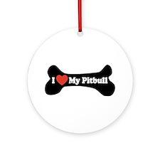 I Love My Pitbull - Dog Bone Ornament (Round)