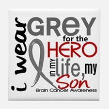 Hero in Life 2 Brain Cancer Tile Coaster