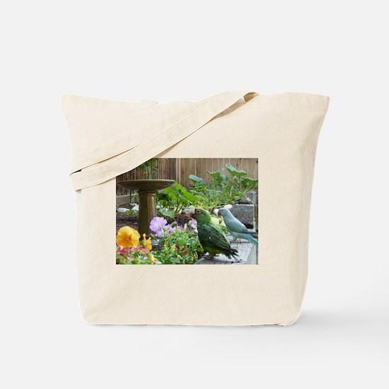 Parrots in the Garden Tote Bag