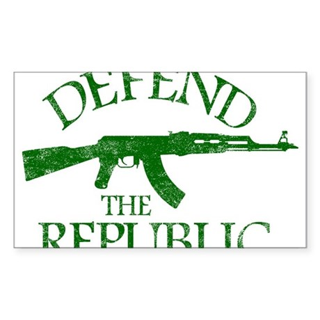 DEFEND THE REPUBLIC (green ink) Sticker (Rectangle