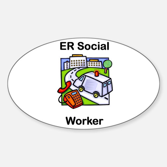 ER Social Worker Oval Decal