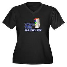 Taste the Rainbow Women's Plus Size V-Neck Dark T-