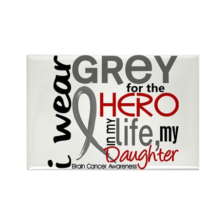 Hero in Life 2 Brain Cancer Rectangle Magnet (10 p
