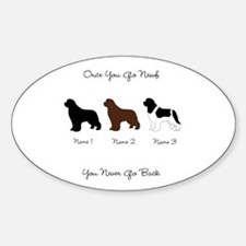 3 Newfs - Black, Brown, Landseer Sticker (Oval)