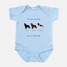 3 Newfs - Black, Brown, Landseer Infant Bodysuit