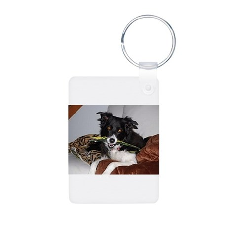 Border Collie Madness Aluminum Photo Keychain