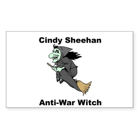 Cindy Sheehan Anti-war Witch Rectangle Sticker