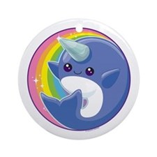 Kawaii Narwhal Ornament (Round)